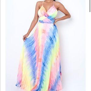 Banjul Tie Dye Bright Neon Colored Maxi